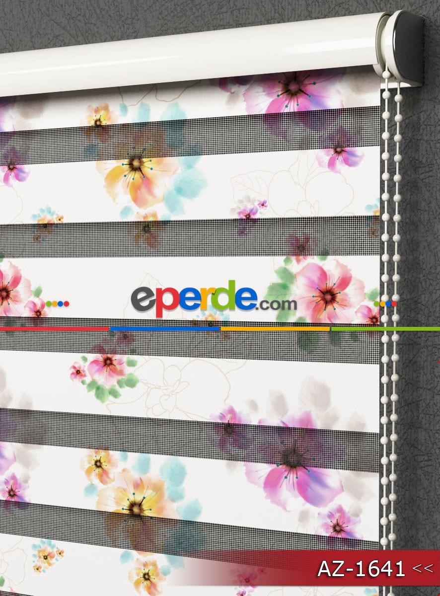 Salon Ve Mutfak - Renkli Çiçek Desenli Zebra Perde