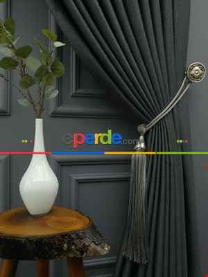 Salon Fon Perde - Modern Keten Görünümlü Işık Geçirmez Karatma Fon Perde 2021 Ikon- Füme