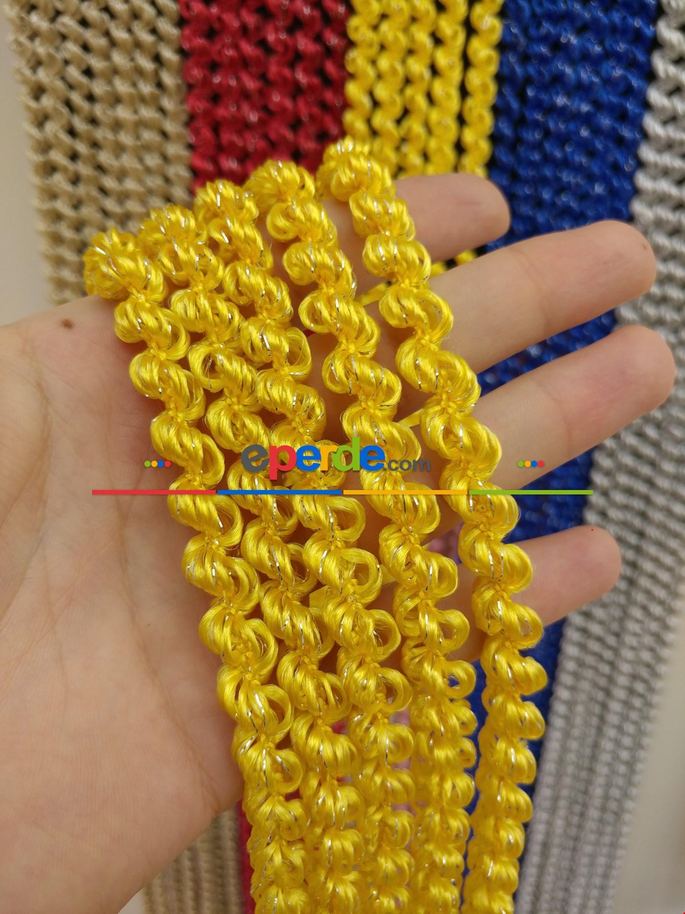 Açık Bej Rengi İp Perde Duble Bukle Serisi Sarı - Gümüş
