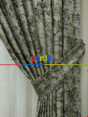 Koyu Gri Desenli Jakar Fon Perde (180)- Gri Koyu