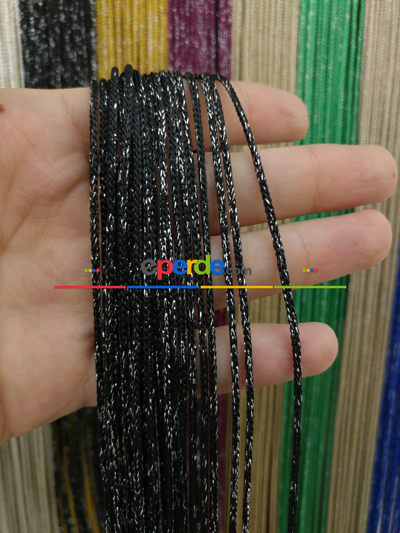 Bej Rengi İp Perde Kalın Zincir Simli Serisi Siyah - Gümüş