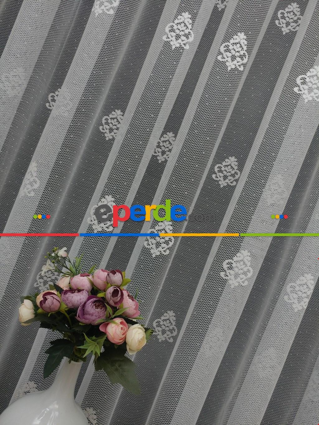 ( Orjinal ) Kdk Damask Desen Salon Fransız Dantel Tül Perde & Kruvaze Perde- Ekru
