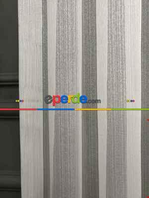 Ekru Sık Dokulu Çizgili Modern Düz Tül Perde (özel İndirimli Fiyat)