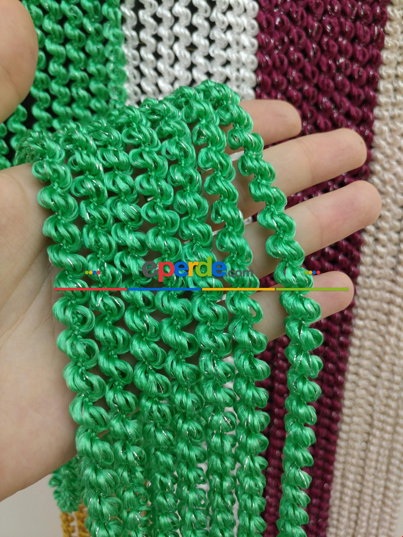 Açık Bej Rengi İp Perde Duble Bukle Serisi Yeşil - Gümüş