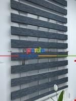 #üreticifirma %40 Indirimli !!! Bej - Bambu Zebra Perde - Simli- Bej Gri Füme Antrasit