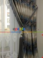 Renk Geçişli Jakar Desenli Salon Trend Fon Perdesi -(saçak Dahildir) Lacivert - Bej - Kahve