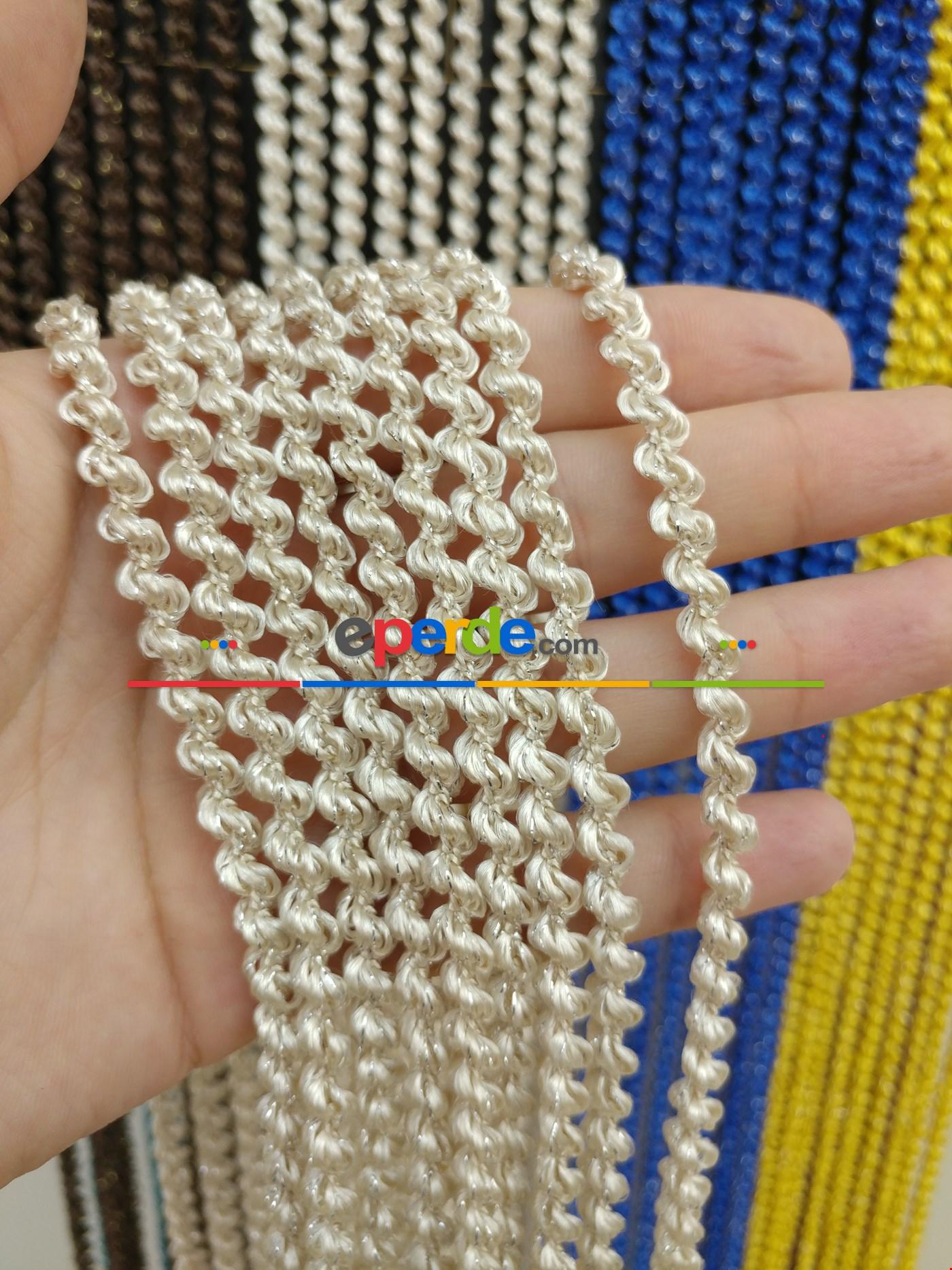 Bej Rengi İp Perde Bukle Serisi Bej - Gümüş