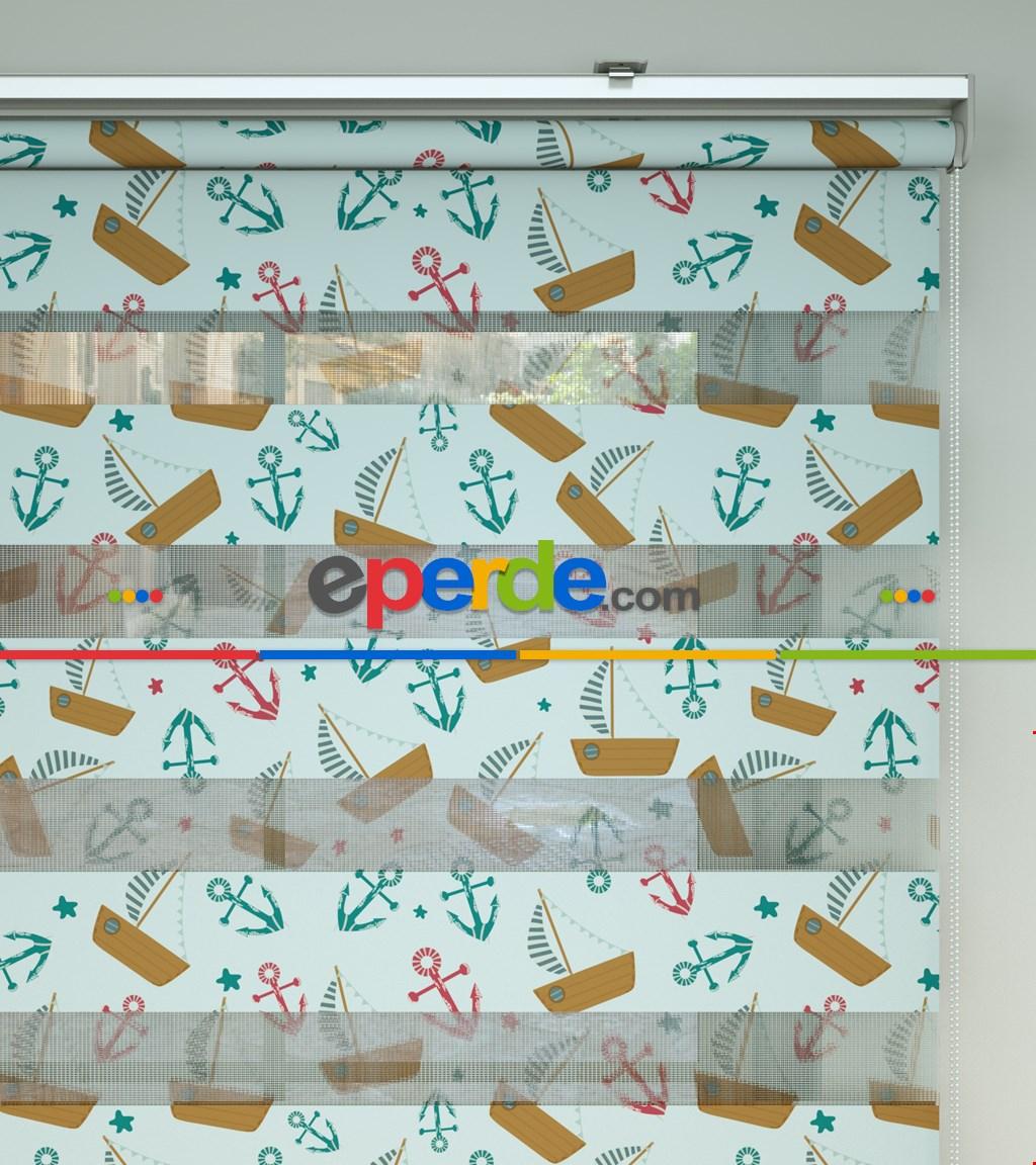 Bebek Odası Zebra -  Denizci Desenli Baskılı Zebra Perde- Yeşil-Kırmızı-Çok Renkli-Camel