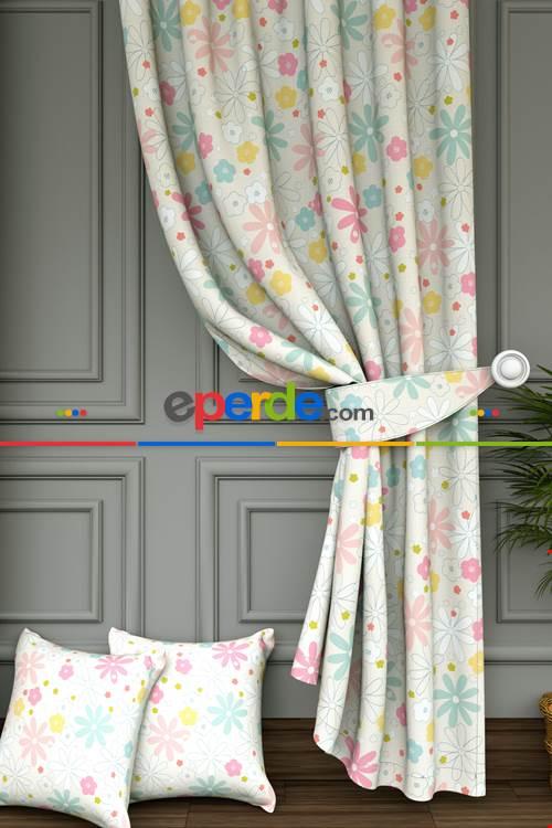 Çocuk Odası - Renkli Çiçek Baskılı Fon Perde