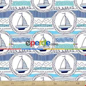 Marine Desenli Fon Perde Evm791 Kumaşı Kalındır Duck Bezi Değildir- Mavi
