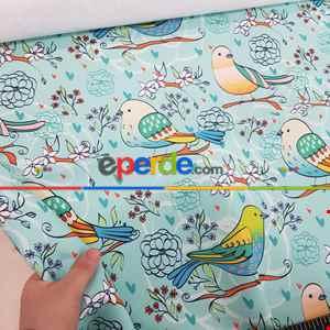 Kuş Desenli Fon Perde Evm1087-3 Kumaşı Kalındır Duck Bezi Değildir- Beyaz-Mavi Açık