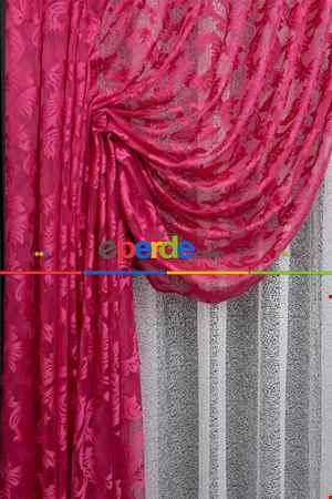 Tül Fon Fuşya Renk Tül Büzgülü Tasarım Yeni Moda Fon Perde- Fuşya 70cm X 270cm