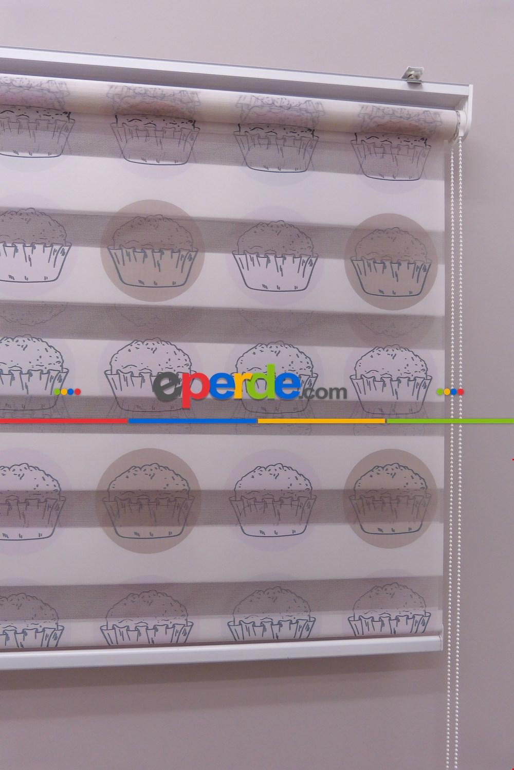 Mutfak Zebra Perde Desenli- Kahverengi