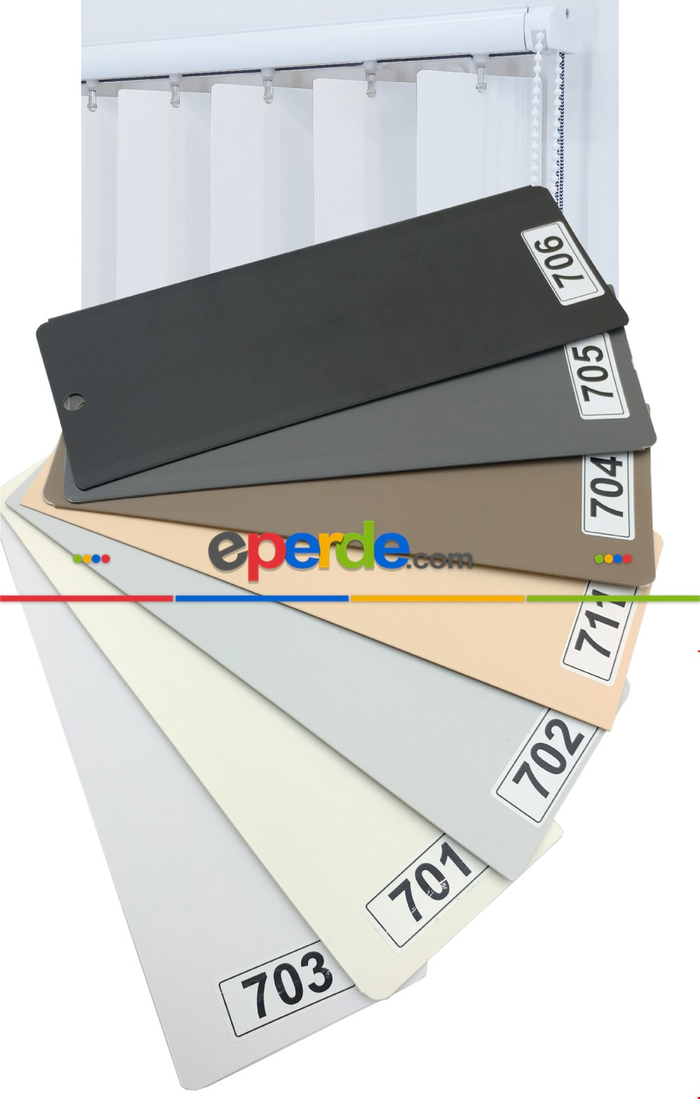 1. Kalite 7 Renk Pvc Dikey Perde - Ofis Fabrika İşyeri Perdesi