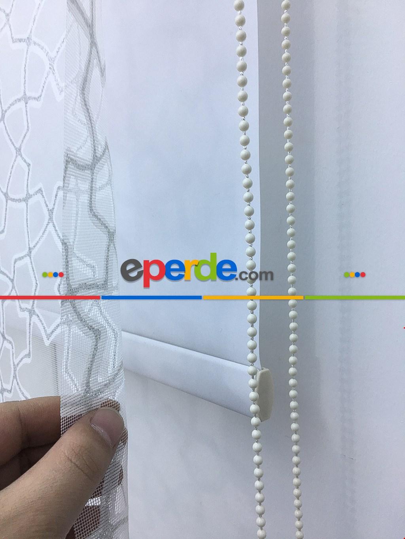 Desenli Çiftli Sistem Tül Stor Perde