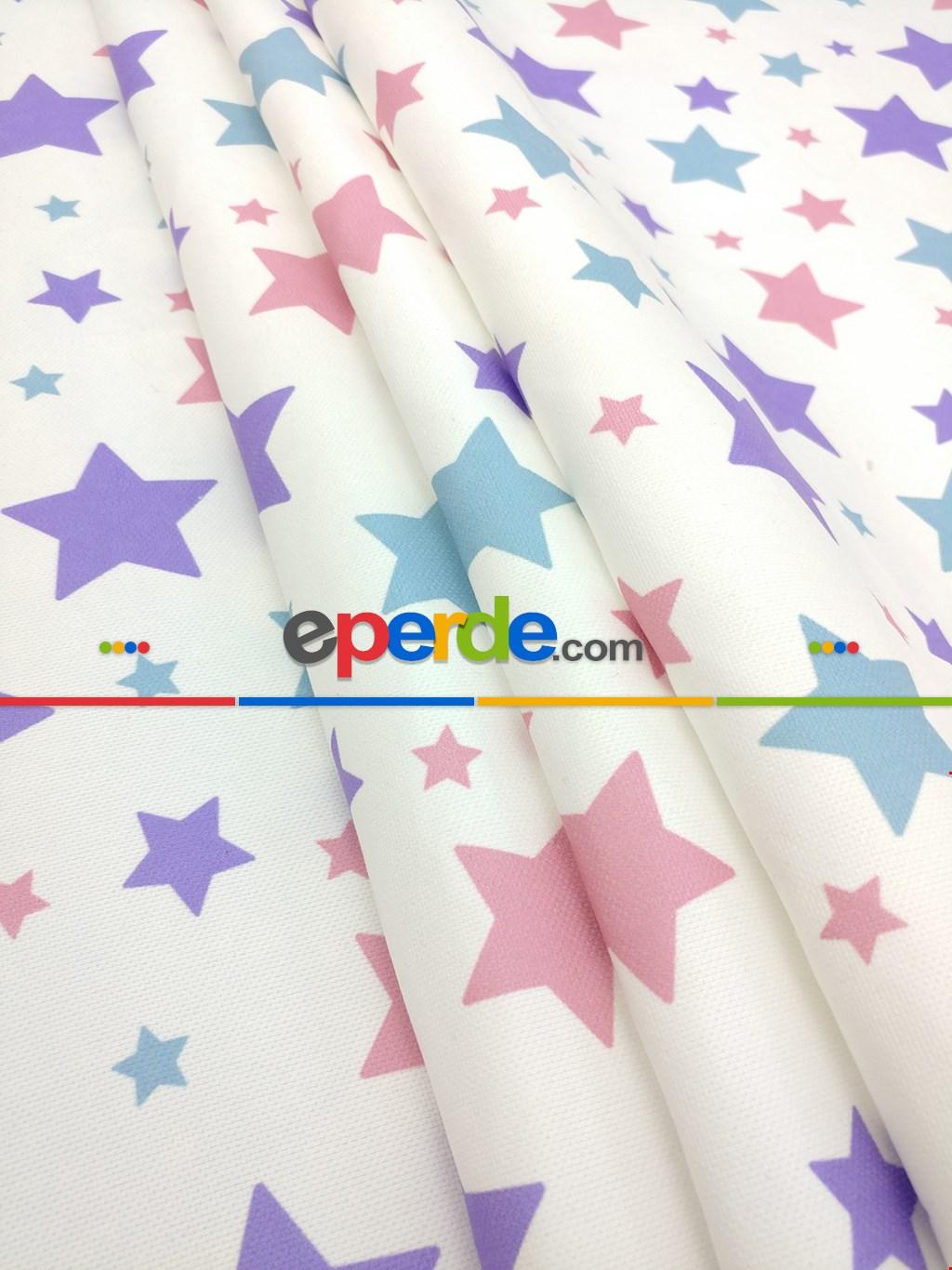 Soft Yıldızlar Kız & Erkek Bebek Odası Fon Perde ( Kalın Pamuklu Kumaş)