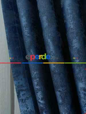 Mavi Renk Jakar Desenli Fon Perde- Mavi