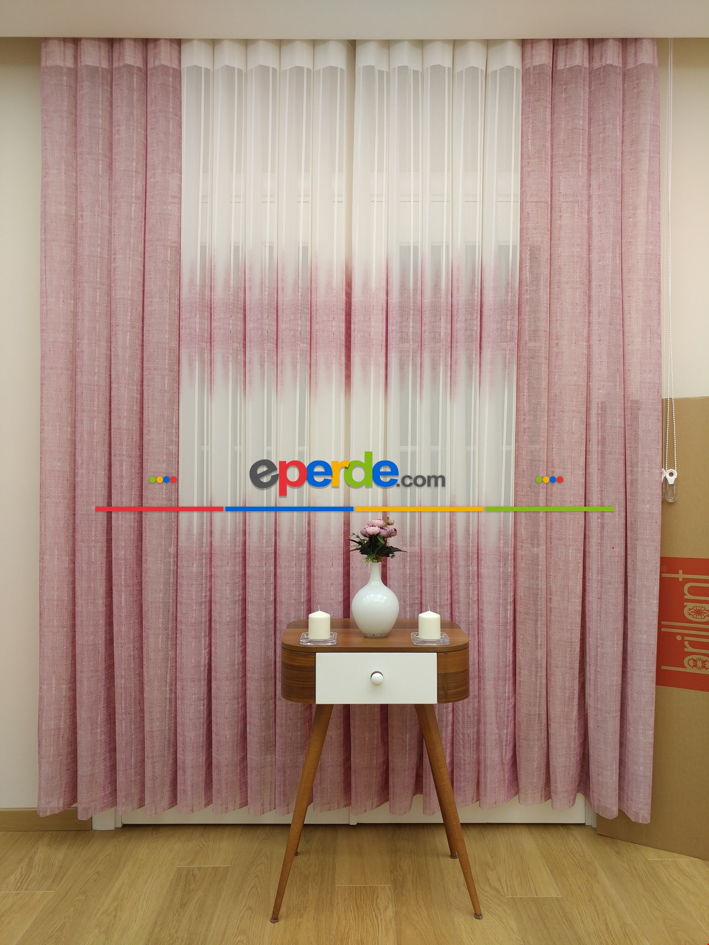 Brillant Dikey Tül Perde 2018 New Design Pembe Pudra Pembe - Ekru