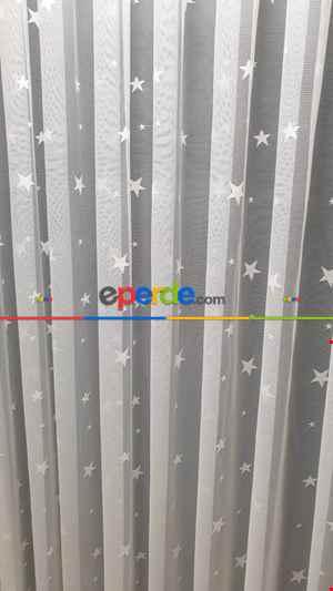 Çocuk Odası Yıldız Desen Tül Perde- Ekru