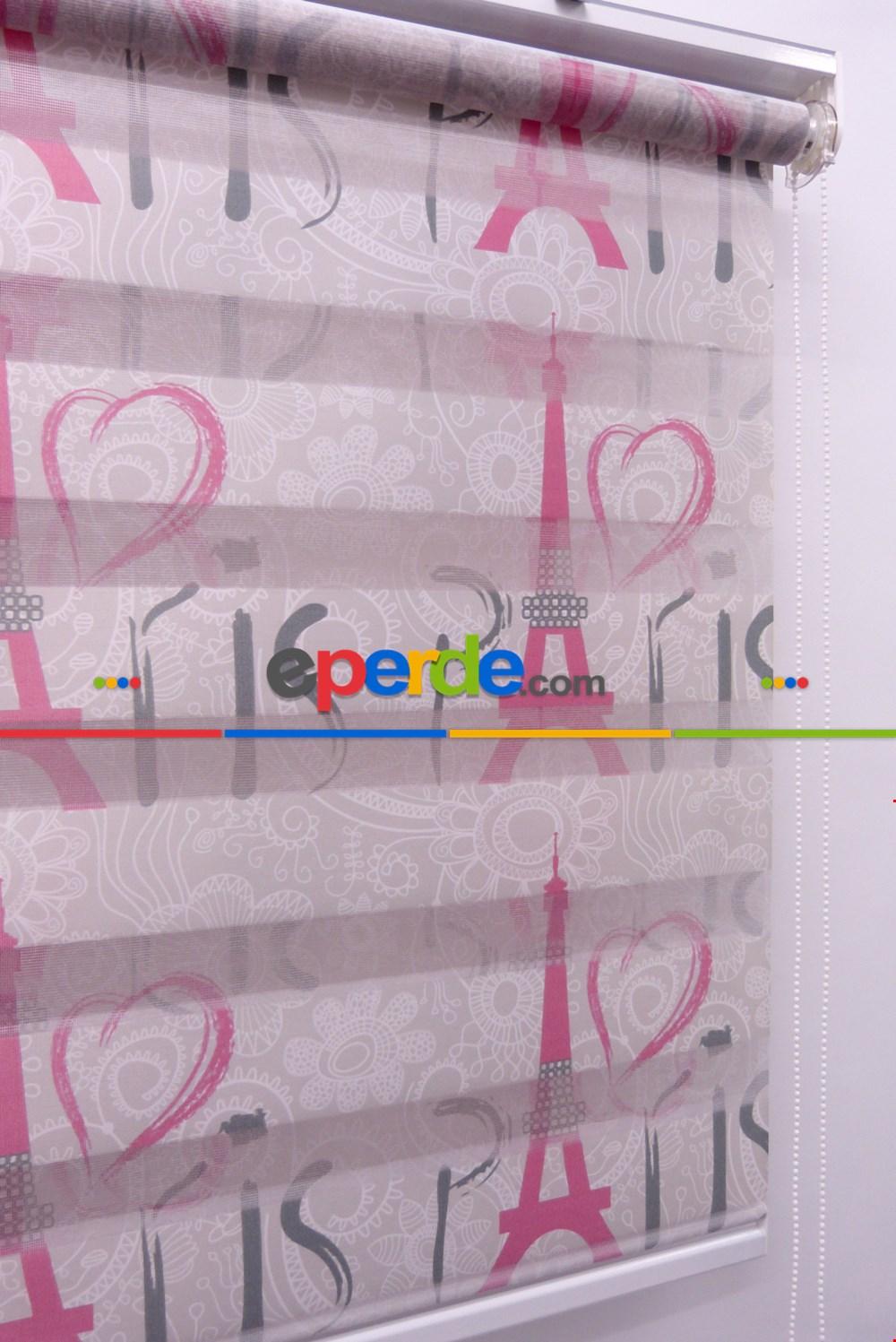 Çocuk Odası - Kalpli Paris Desen Zebra Perde- Menekşe Kırmızı