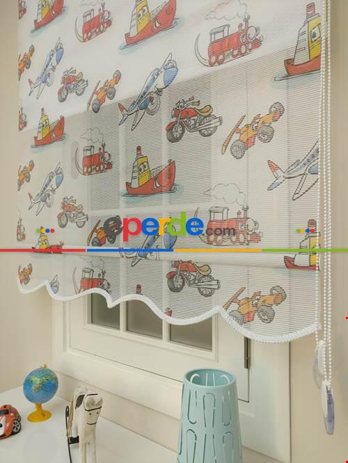 Çocuk Odası Çiftli Stor -Baskılı Çiftli Sistem Tülü Kids Series- Mavi-Kırmızı-Hardal Sarısı