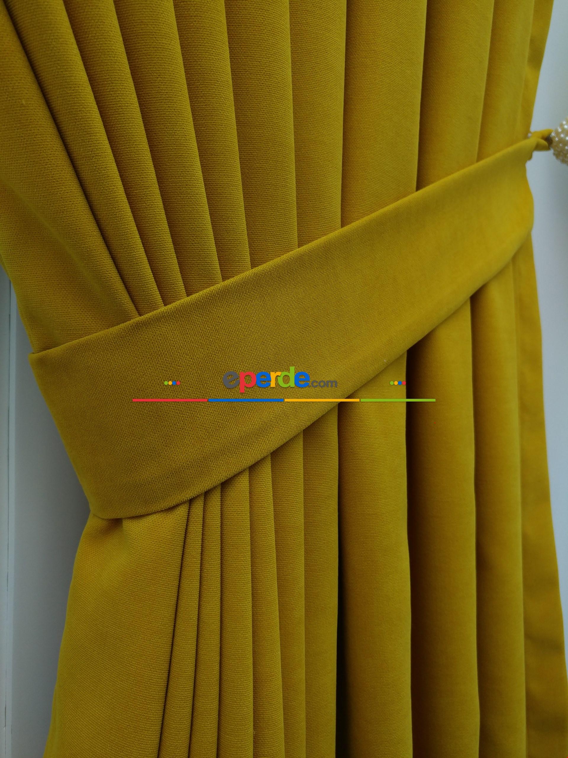 Hardal Sarısı Düz Fon Perde 130cm X 270cm