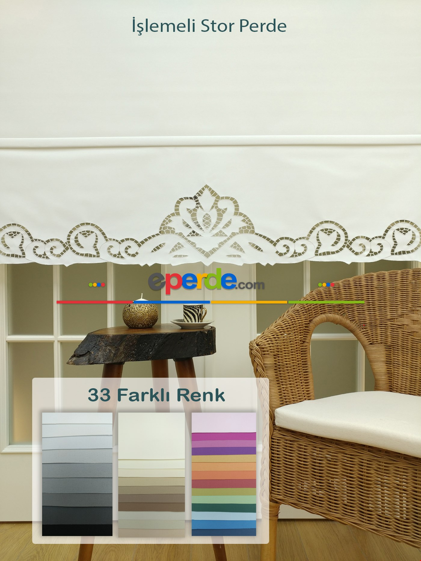 Nakış İşlemeli Stor Perde 33 Farklı Renk Seçeneği Gri - Beyaz - Krem - Ekru - Çok Renkli