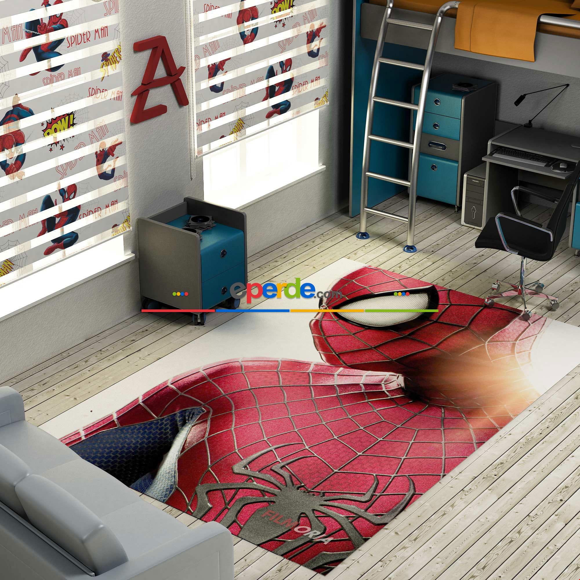 Örümcek Adam Portre Baskılı Halı