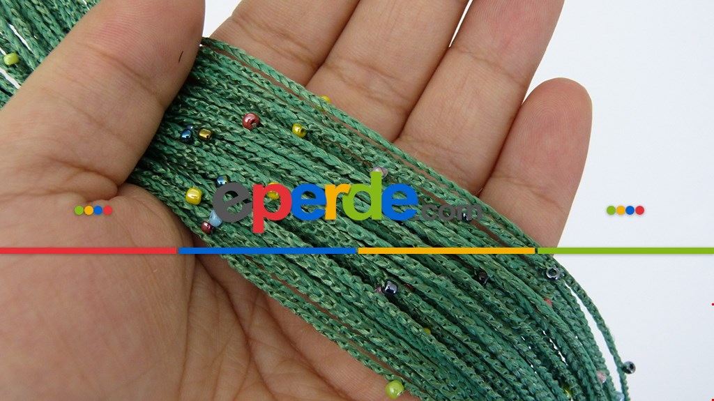 Yeşil İp Perde Renkli Boncuklu 138d