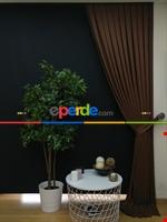 Gri Düz Renk Dökümlü Fon Perde (150)- Gri Kahverengi