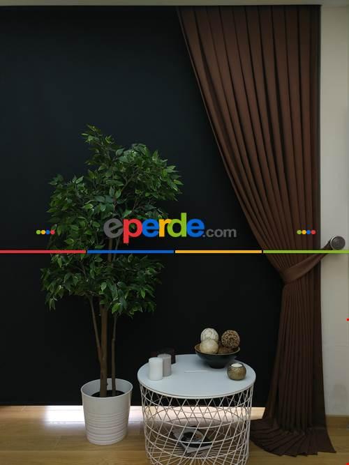 Düz Renk Dökümlü Fon Perde (150)- Kahve Açık