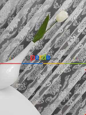 Salon Damask Desenli Örme Kdk Tül Perde %30 Ekstra İndirimli- Ekru