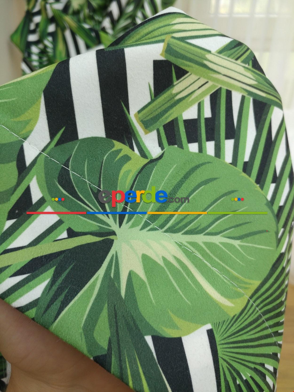 Tropikal Yaprak Desenli Fon Perde - Kumaşı Kalındır Duck Bezi Değildir