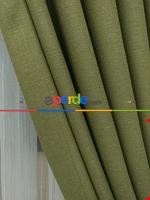 Keten Açık Be Rengi Düz Fon Perde- Taş Rengi Yeşil