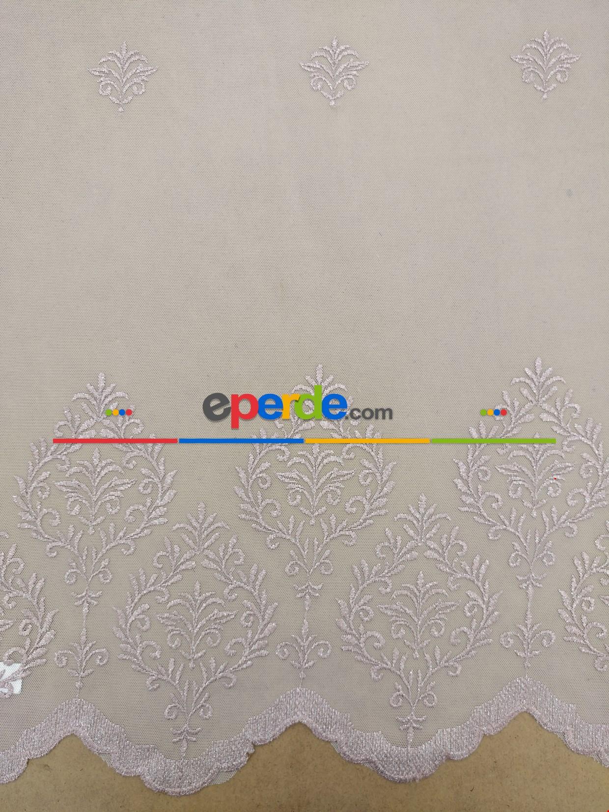 Pudra Renk Damask Desenli Nakış İşlemeli Tül Perde