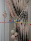 Renk Geçişli Jakar Desenli Salon Fon Perdesi - Lacivert - Mavi - Bej