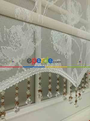 Çiftli Sistem Örme Tül Stor Perde Ve Stor Perde- Krem Açık-ekru 80cm X 200cm