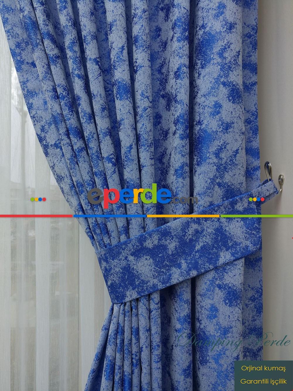Mavi - Katyonik Jakar Fon Perde