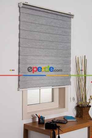Salon Zebra Perde -Indirimli !!! Gri Bambu Zebra Perde Ozel Fiyat- Gri Açık