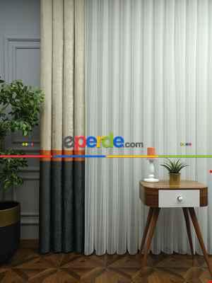 2021 Sezonu - Tül Dikey Zebra Perde - Fon Kumaşlı Tül Dikey Perde - Stor Tül Perde Hepsi Birarada- Gri-füme-antrasit-krem-turuncu-ekru