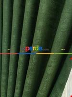 Pudra Pembe - Düz Jakar Fon Perde (180) Yeşil Koyu Yeşil