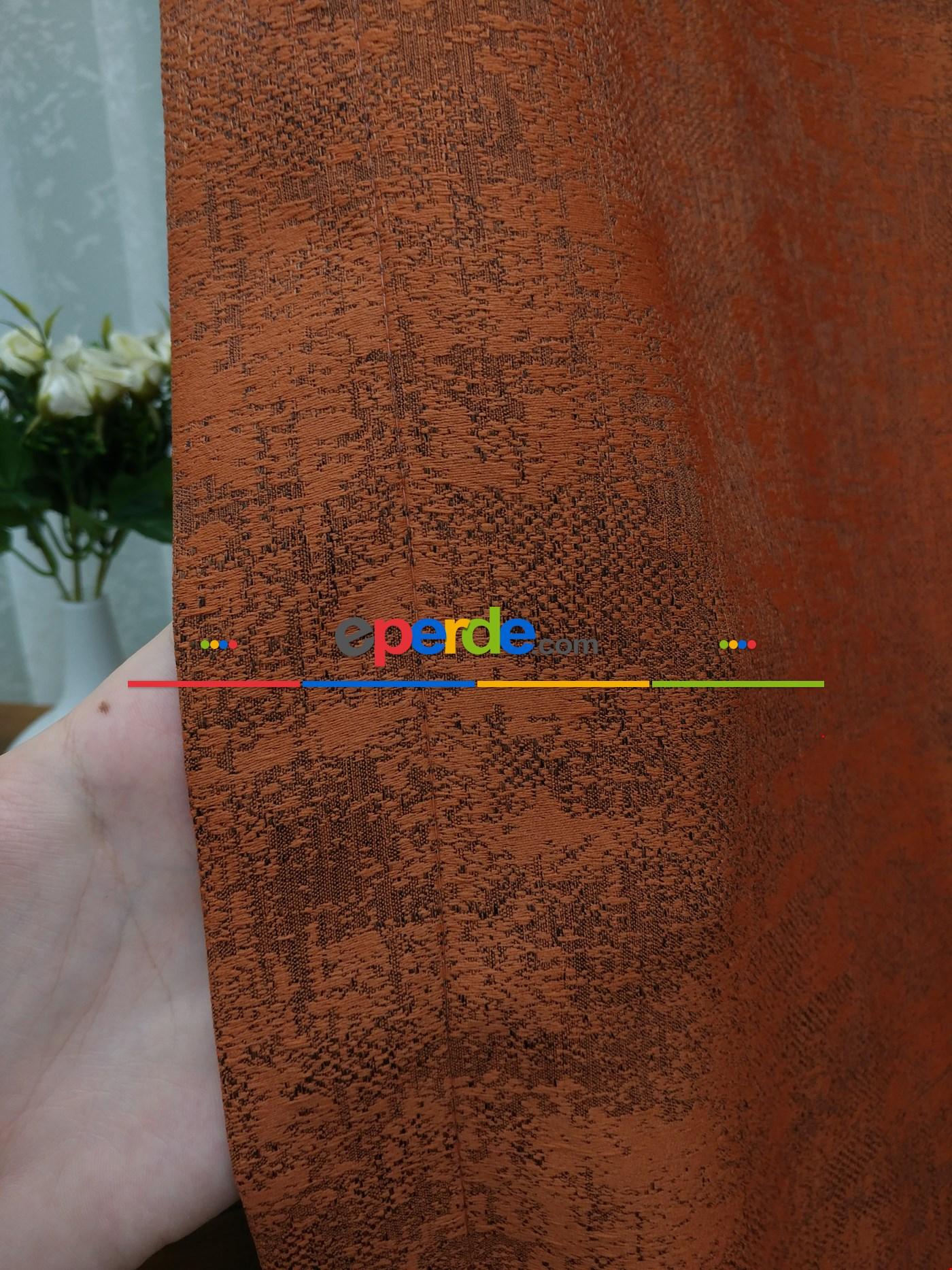 Mürdüm Krem- Düz Jakar Fon Perde (180) Kiremit Rengi