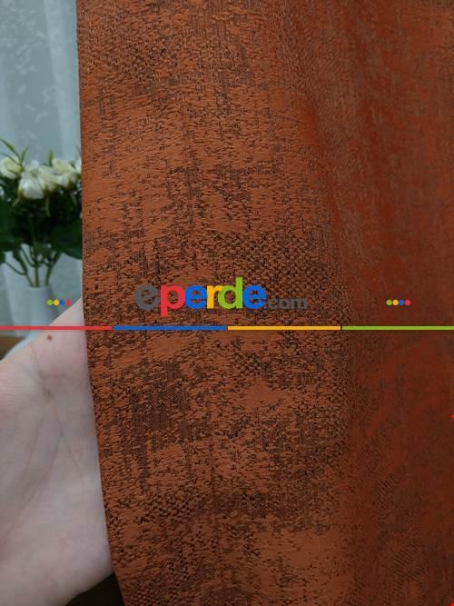 Kiremit Rengi - Düz Jakar Fon Perde (180)