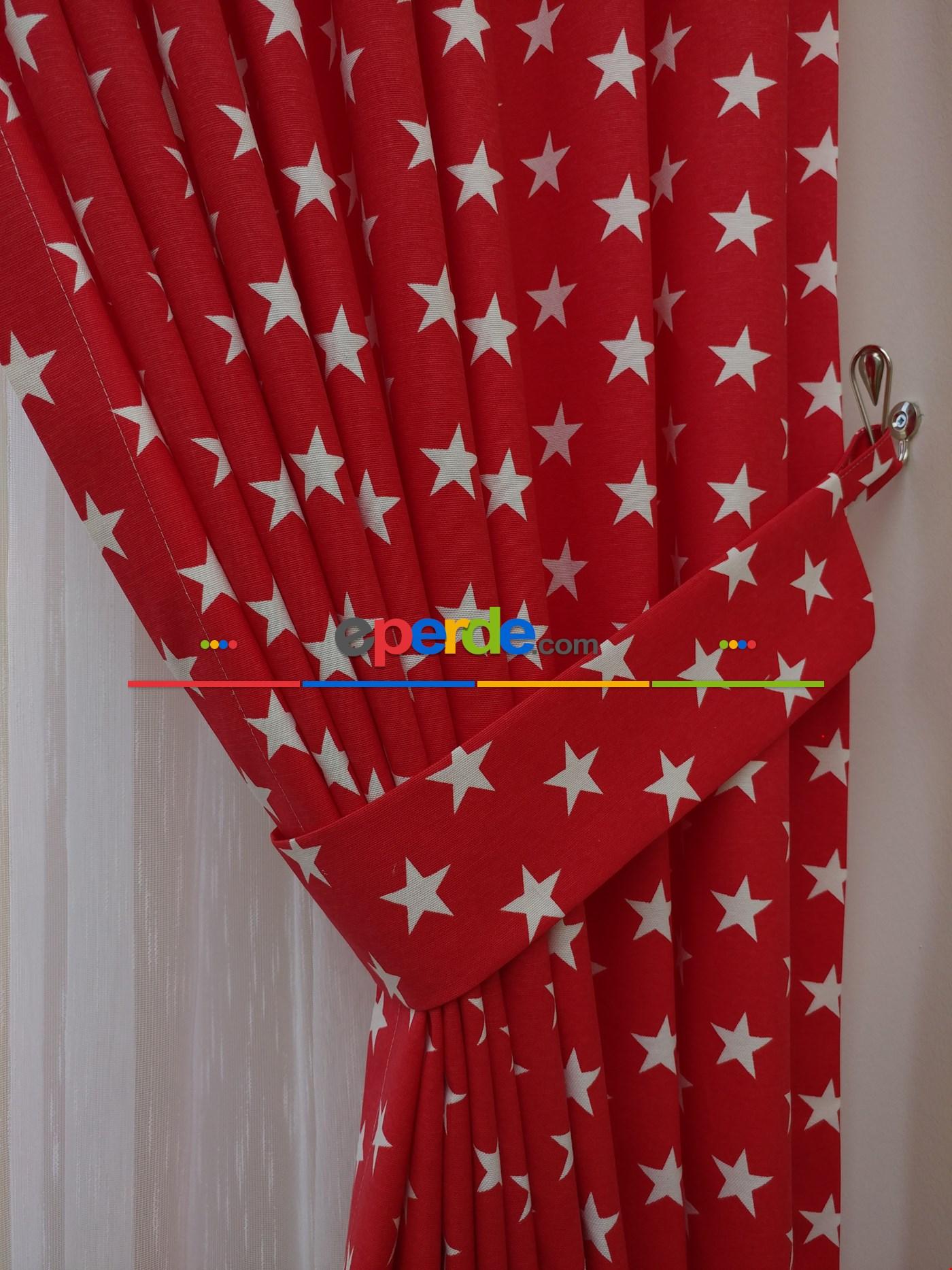 Yıldız Desenli Fon Perde ( Leke Tutmaz ) Kırmızı