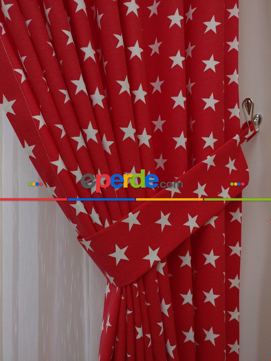 Kırmızı- Beyaz Yıldız Desenli Fon Perde ( Leke Tutmaz )- Kırmızı