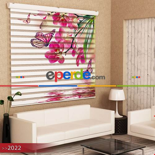 Salon Ve Oturma Odası - Kelebekler Ve Çiçekler Özel Poster Baskılı Zebra Perde