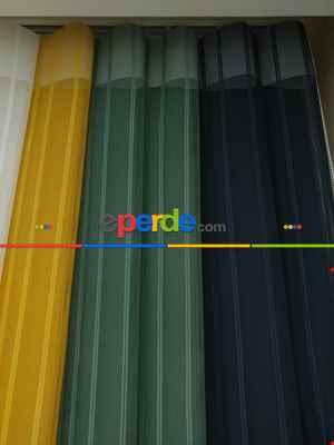 Salon - 1. Kalite Çizgili Tül Dikey Zebra Perde - Ft14 Füme- Ft27 Çağla Yeşili-ft16 Hardal Sarı- Ft02 Ekru- Füme