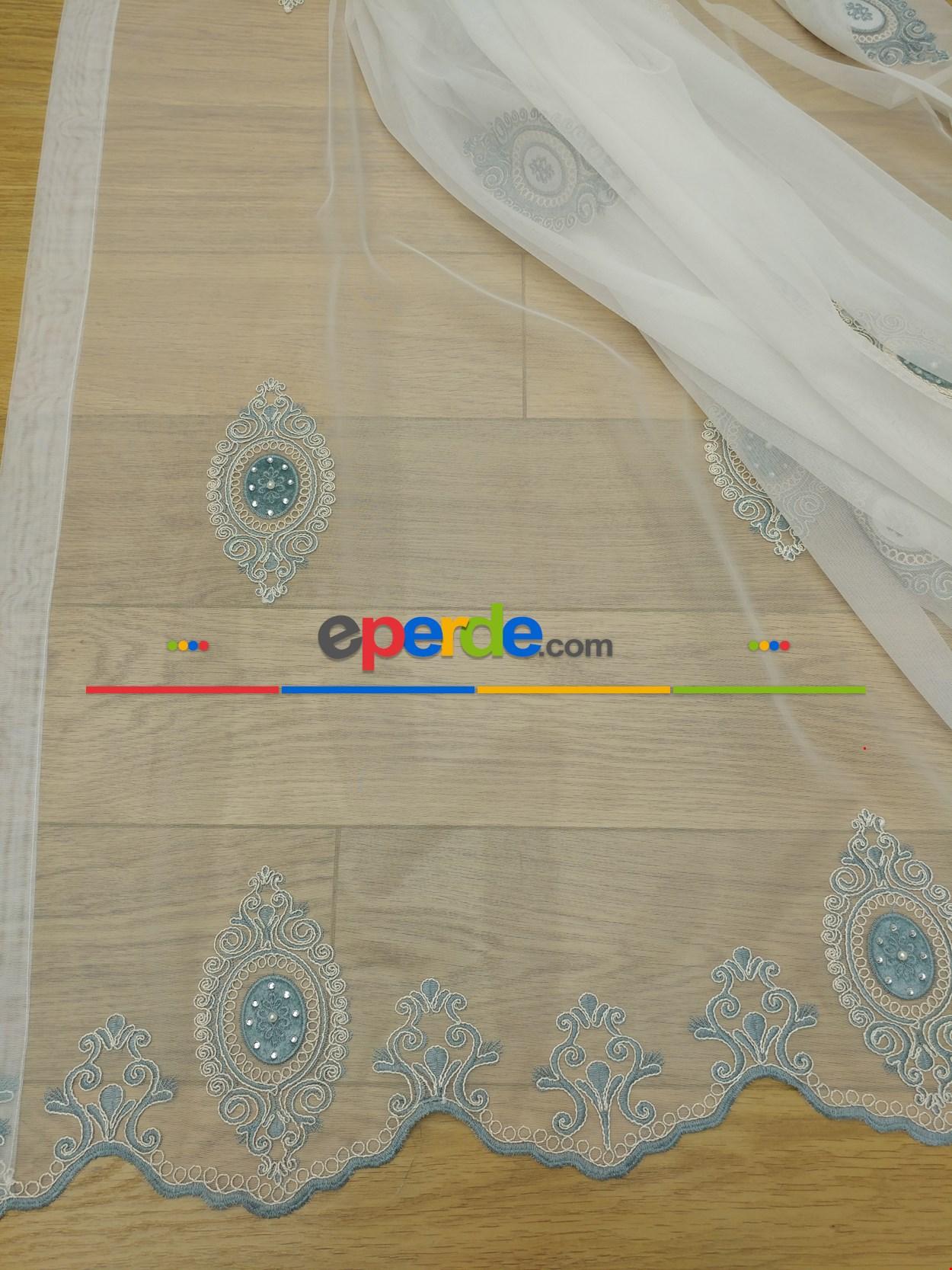 Damask Desen Koordeneli Nakış İşlemeli Tül Perde Göbeği Kadife (incisizdir)