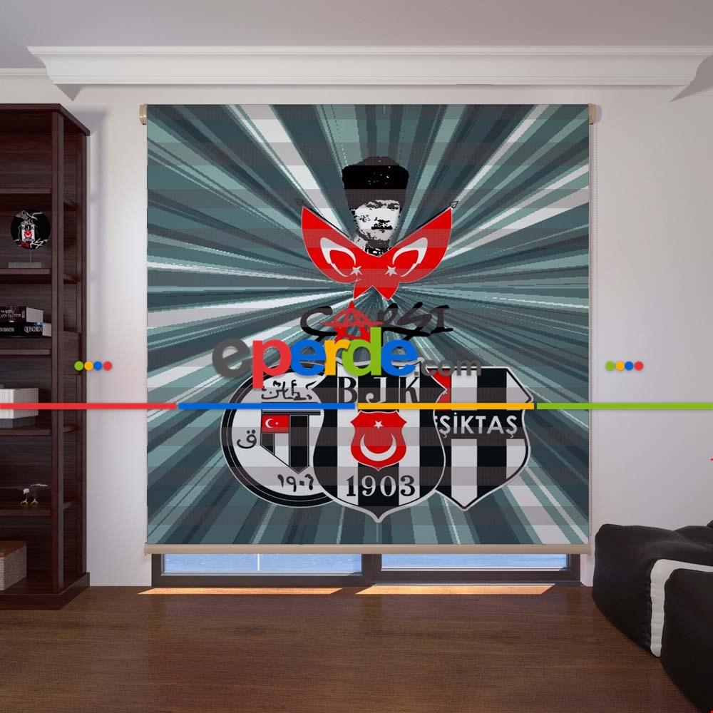 Atatürk Ve Beşiktaş Baskılı Zebra Perdesi Eperdecom