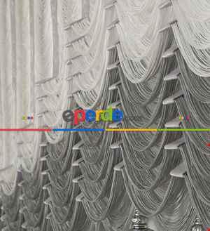 Drape Dar Bant Kadife Bantlı Çift Renk Şelale Ay Model İp Perde Gümüş Simli - Beyaz- Gri-füme-antrasit-beyaz-gümüş Simli